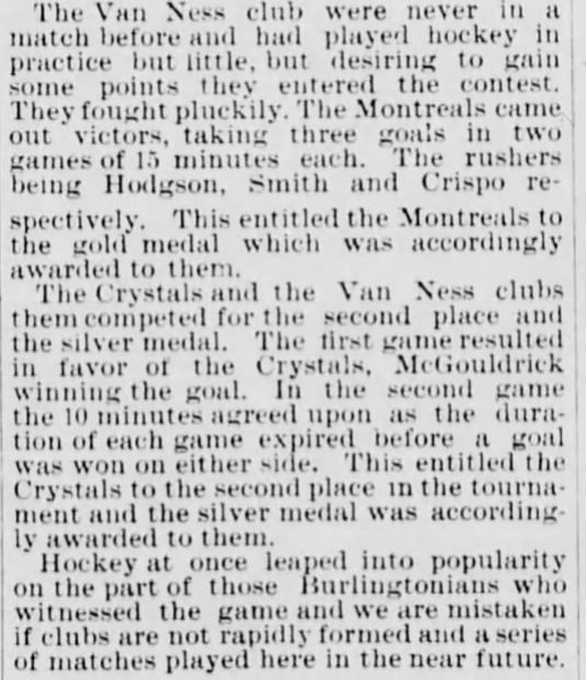 Burlington Winter Carnival tournament in 1886 included two Montreal teams and a local team named Van Ness Hockey Club