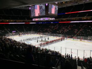 St. Cloud State and St. Thomas prepare for the first St. Thomas home game at the Xcel Energy Center on October 3, 2021