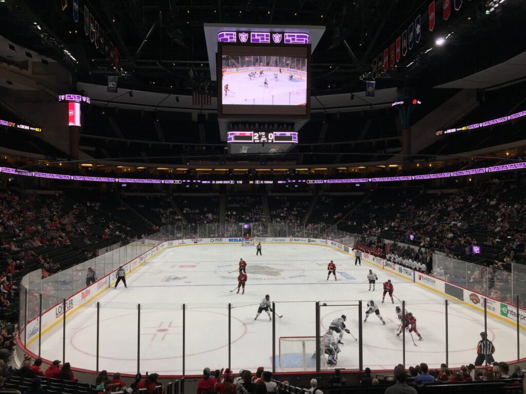 St. Cloud State still pushing the puck in the final minutes of the St. Cloud State and St. Thomas game on October 3, 2021