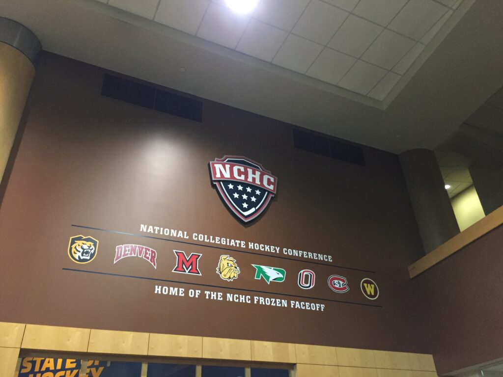 NCHC team logos showing that the Xcel Energy Center is home of the NCHC Frozen Faceoff