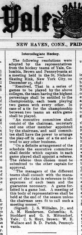 Yale Daily News Introduction of Intercollegiate Hockey Association of America